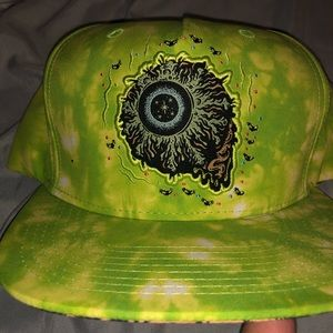 Tiedye MISHKA SnapBack hat with teeth on brim rare